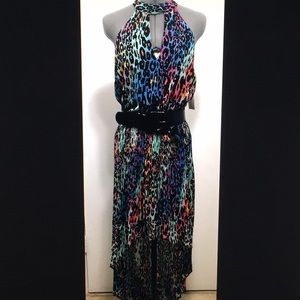 Los Cabos, Printed Pleated High-Low Maxi Dress